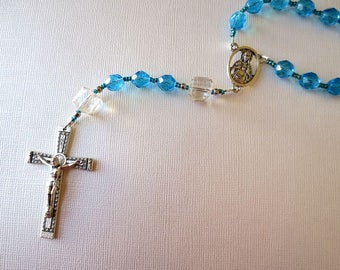 March Birthstone Rosary, Aquamarine colored Glass Catholic Rosary with Scapular Medal Center