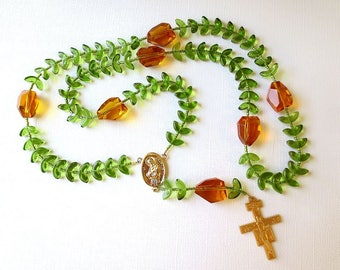"Olive Green and Gold Franciscan Crown Rosary with ""Leaves"" - Saint Francis Center and San Damiano Cross"