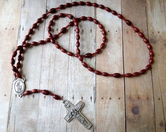Wooden Pope Francis Franciscan Crown Rosary with Saint Francis/ Pope Francis I Center and Pectoral Good Shepherd Cross