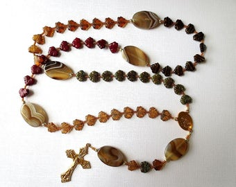 Long Earth Tone Catholic Rosary of Glass Leaf Beads and Agate with Scapular Medal Center