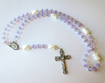 June Birthstone Rosary, Violet Alexandrite Glass Catholic Rosary with Miraculous Medal Center