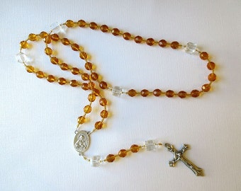 November Birthstone Rosary, Topaz Colored Glass Catholic Rosary with Scapular Medal Center