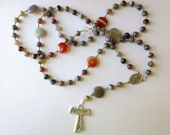 Franciscan Crown Rosary of Botswana Agate with Saint Francis/ Saint Anthony Center and Tau Cross
