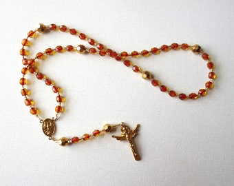 Red and Gold Holy Spirit Rosary, Confirmation Rosary with Holy Trinity - Needs a home, more than 50% off