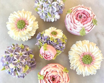 7 pc. Pink Peony, Cream and Lilac Cupcake Gift Box