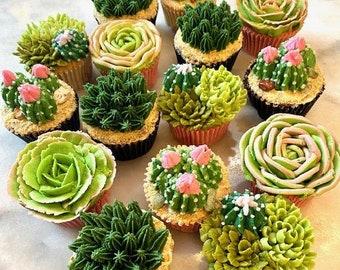 12 pc. Boxed Bouquet Cactus & Succulent Cupcakes