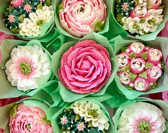 9 pc. Peonies, Rose and Succulent Cupcakes