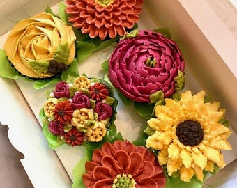 9 Pc. Fall Flower Cupcakes