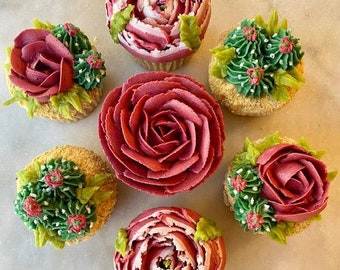 7 Pc. Burgundy Flowers and Cactus Cupcakes