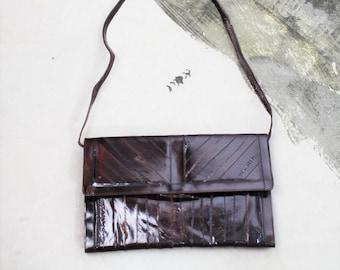 385b7c061ab5 Vintage Eelskin Leather Purse 80s Choclate Brown Leather Purse Flat Eelskin  Shoulder Bag Glossy Exotic Skin Bag Large Eel Skin Clutch