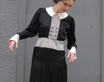 SALE Vintage Tuxedo Dress School Girl Collared Long Sleeve Black White Dress Abstract Print Button Up Cuffs Pleated Black Satin Dress M