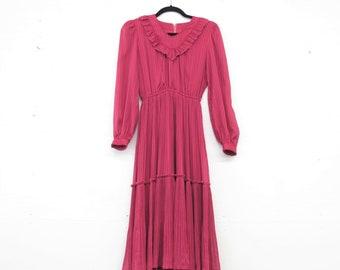 1e39f8e934 Vintage 80s Secretary Dress Fuschia Pink Dress V Neck Pleated Ruffle Dress  Semi Sheer Long Sleeve Midi Dress Striped Chiffon Dress XS S