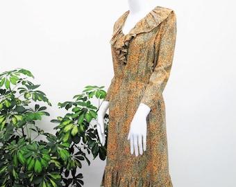 5c81a16d2f Vintage 70s 80s Silk Dress Silk Secretary Dress Ruffle Collar Dress Multi  Color Orange Green Long Sleeve Midi Knee Length Dress V Neck Sm