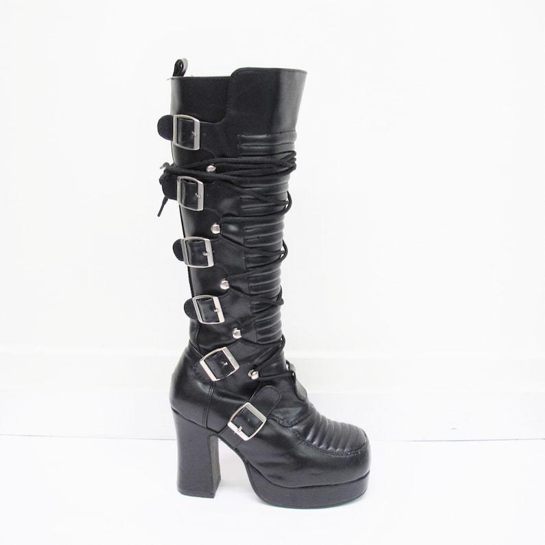 1c65a6279487 Vintage 90s Platform Boots Demonia Punk Goth Boots Knee High