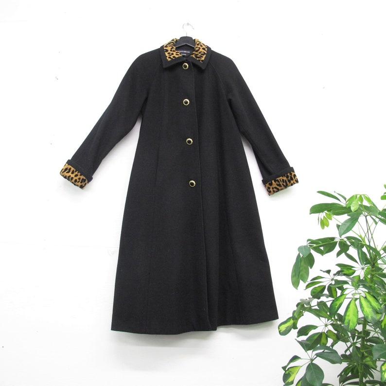 cddb7c3386 Vintage Leopard Collar Coat 80s does 50s Coat Womens Winter