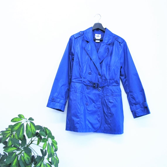 30 Percents Off Sale Vintage 1990s Trench Coat Navy Blue Rain Jacket Belted Waterproof Raincoat Outerwear Blue Trench Fitted Womens Size S/M by Etsy