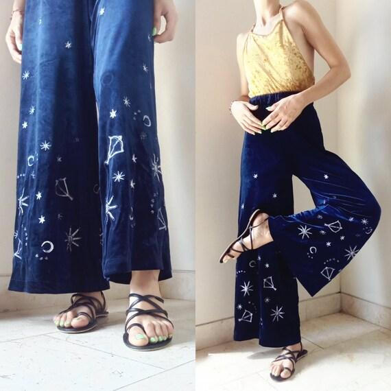 Velvet Star Pants Navy Blue Celestial Astrology Hi