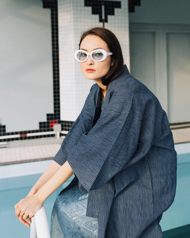 3a8b8709be Vintage Cotton Kimono Yakuta Navy Blue Kimono 70s 80s Japanese