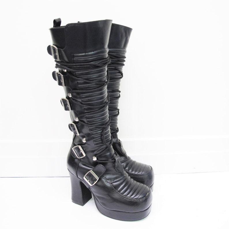 4e043ef6c72 Vintage 90s Platform Boots Demonia Punk Goth Boots Knee High