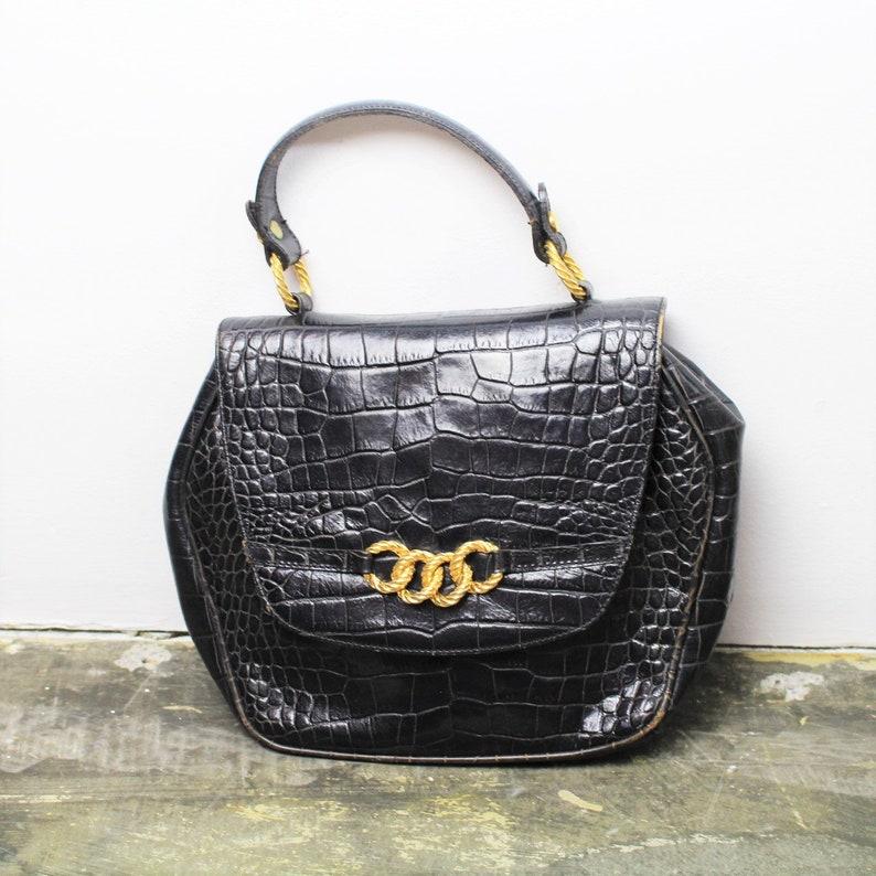 ab3d4ff9a36c Vintage 80s 90s Black Leather Handbag Top Handle Bag Faux Croc   Etsy