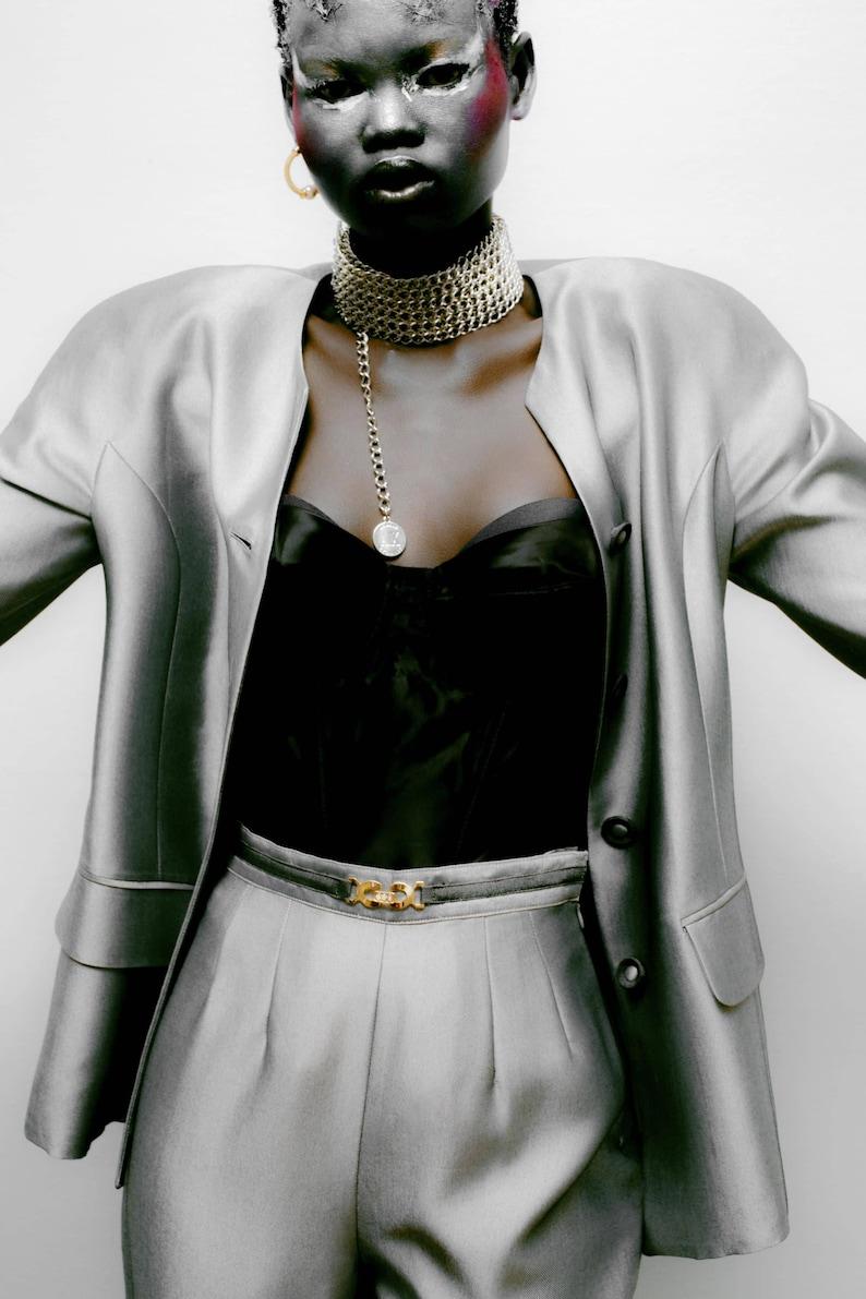 94168e8f6d Vintage 1990s BOWIE Silver Suit Womens Pantsuit Blazer Jacket | Etsy