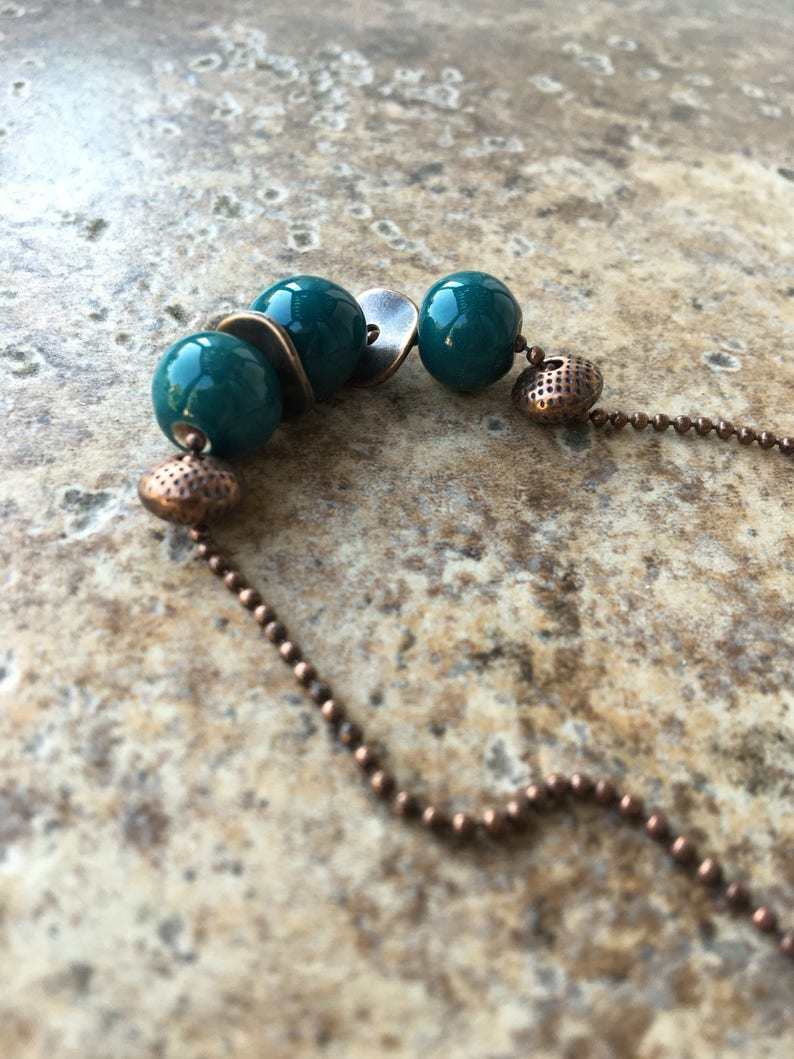 Blue \u201cCaribbean\u201d Artisan Ceramic Fair Trade Clay Beads Made In Cambodia Strung on Antique Ball Chain Ceramic Teal /& Copper Necklace