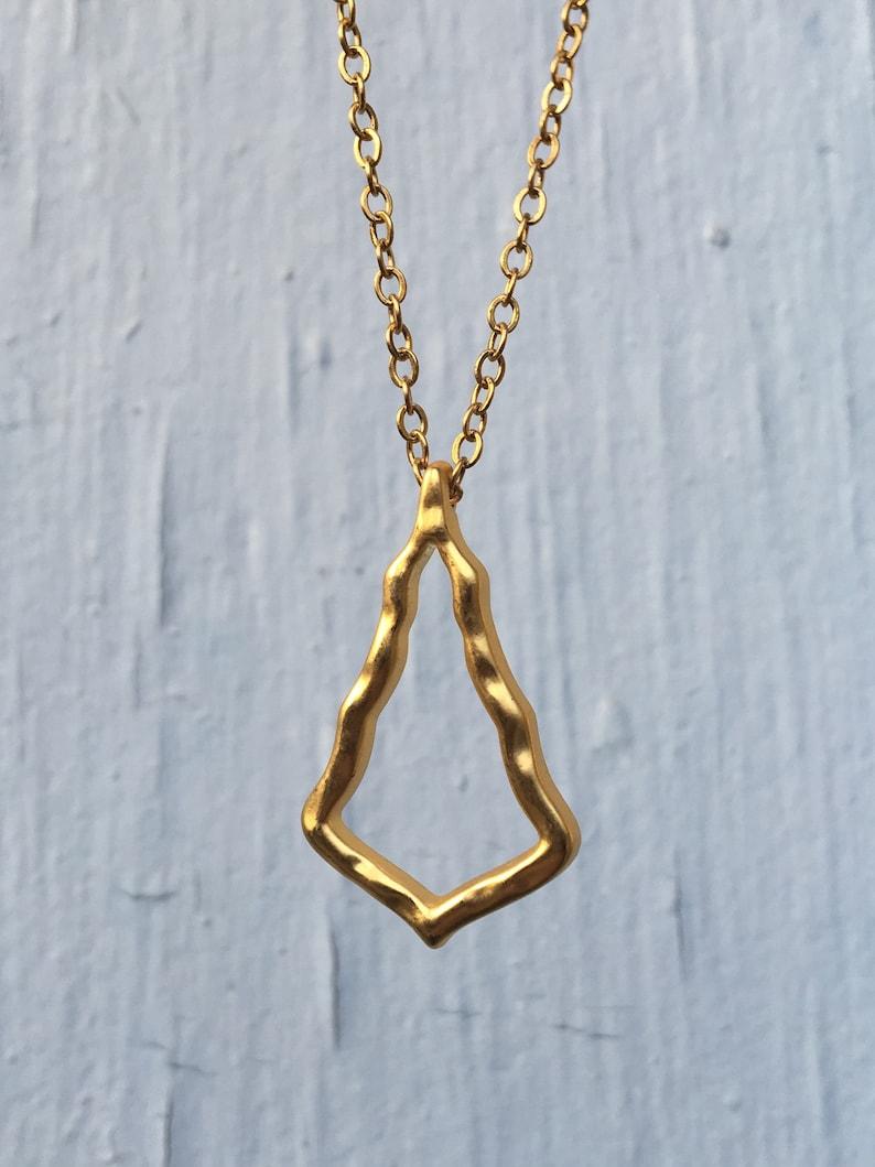 Satin Gold Tree Necklace Minimalist Abstract Christmas Tree Pendant