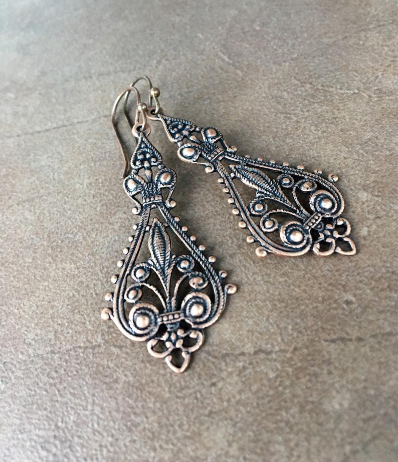 Long Copper Earrings Etruscan Curvy Feminine Plain Filigree Dangles Two Inches Victorian