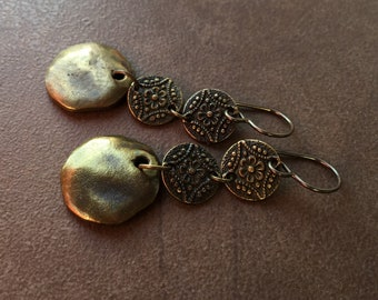Bronze Layered Coin Dangles   Antique Golden Brass Dropped Disc Earrings   Vintage Look Round Greek Charms