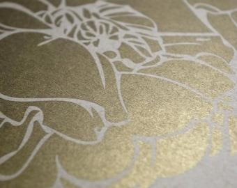 Metallic Offset Gold Ketubah - Simply Peony
