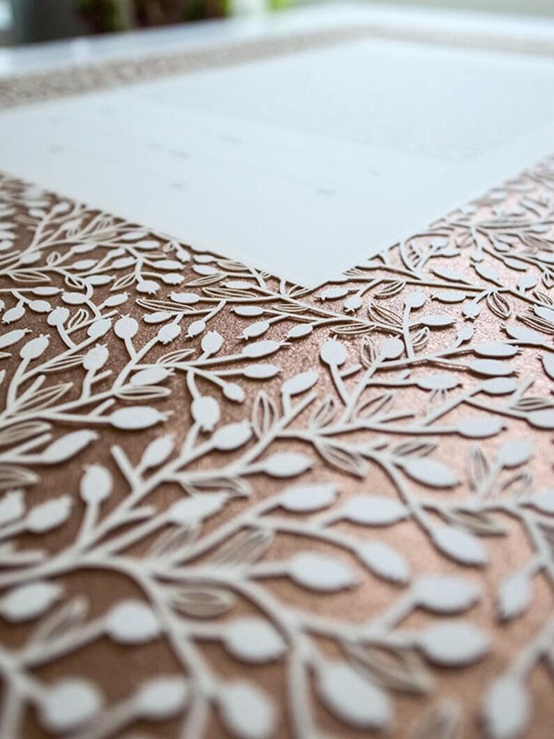 Ketubah Papercut  Lace Leaves  Metallic Copper image 0
