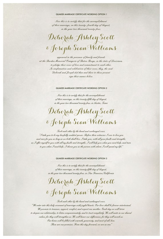 chalkboard mosstea pink flowers Folk Garland Quaker Marriage Certificate and Wedding Certificate