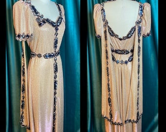 Miss Fortune Glittering Gold Gown w Black Sequin Appliqué and Matching Glamour Turban