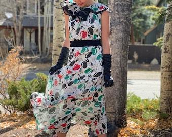 1930s-style Autumn Apple-Picking Sheer Dress W Flowy Ruffle and Velvet Bow