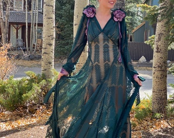Art Deco 1930s-style Sheer Green Gown w Velvet Lavender Roses