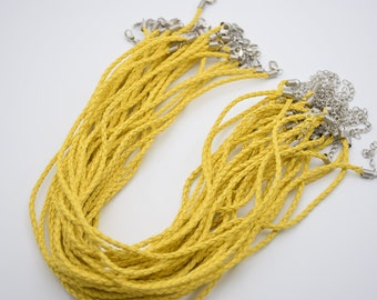 10 yellow braided faux leather cord necklace 3.0mm 16 inch woven leahter bolo cord necklace lobster clasp 2 inch extension chain