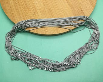 20pcs 1.2mm 17 inch silver gray color snake chain necklace with lobster clasp