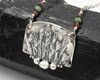 "Necklace ""GRASSLAND"" - fine silver, sterling silver, Turmaline - one of a kind!"