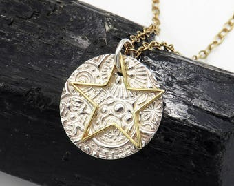 """Double-layered silver pendant """"Star Talers"""" - fine silver 999, gold-plated sterling silver - choose from four designs!"""