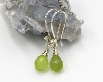Prehnite Earrings - sterling silver, fadeted Prehnite drop briolettes