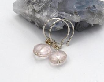 Rose Quartz Earrings - sterling silver, rose quartz coin briolettes