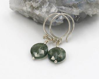 Moss Aquamarine Earrings - sterling silver, Moss Aquamarine coin briolettes