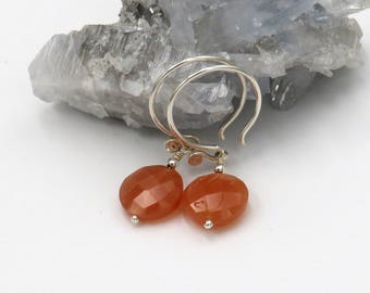 Peach Moonstone Earrings - sterling silver, peach-colored Moonstone coin briolettes