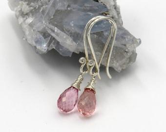 Rose Mystic-Quartz Earrings - sterling silver, fadeted Mystic Quartz drop briolettes