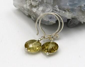 Champagner Quartz Earrings - sterling silver, champagner quartz coin briolettes