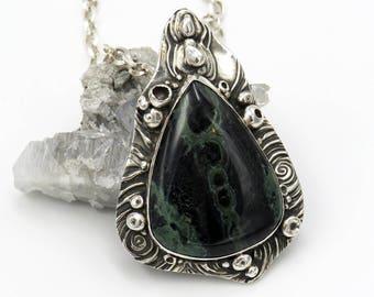 "Large pendant ""RING NEBULA"" - fine silver, sterling silver, Kabamba Stone (Eldarite) - one of a kind!"