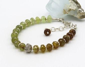 "Gemstone Bracelet ""AWAKENING"" - faceted Grossular rondelles, sterling silver"