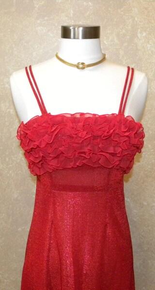 Vintage Red Metallic Dress -- 1970s Mod Sparkle Metallic Red empire waist Maxi dress prom gown with ruffle trim 32 Bust-26 Waist-36 Hip