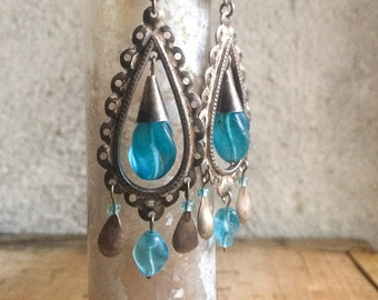 Vintage Ecuador Earrings Silver and Blue Glass Trade Beads, Frida Earrings, Anniversary Gifts, Amazing Gift for Women, Bohemian Earrings,