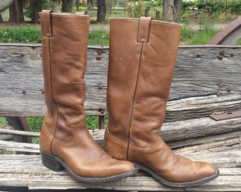 Vintage Cowboy Boots Men's Size 7 D (Women's 8 to 8.5) Brown Leather, Tall Cowgirl Boot